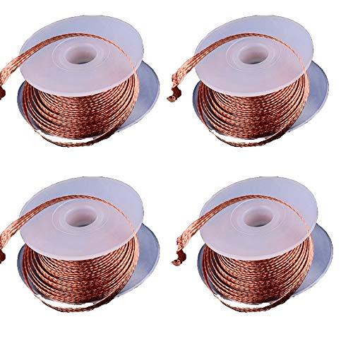 4 piezas de mecha de soldadura, herramienta para desoldar mecha de soldadura alambre trenzado (1,5 mm)