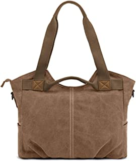 Iswee Large Casual Canvas Tote for Women and Men Fit 15.6 Inch Laptop Handbags Shoulder Crossbody Bags Daily Purse