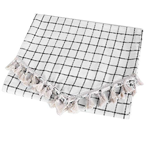 Sevenyou Cotton Linen Plaid Pattern Table Runner Cloth for Dinning Table Decoration, Home Kicten, Restuarant(12x70 inches 30x180cm)