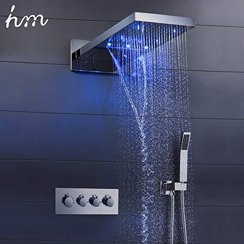 hm Duschsystem,22 Zoll Multifunktional Dusche mit konstanter temperatur,Wasserfall Duschkopf, 304 Edelstahl,Handbrause,Rain shower Brausegarnitur,Waterfall SPA Bath & Shower Faucets