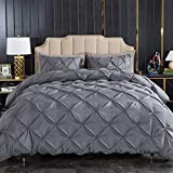 Litanika Dark Grey Pinch Pleat Duvet Cover Queen (90x90 Inch), 3 Pieces(1 Duvet Cover, 2 Pillow Cases) Bedding Set, Smooth Microfiber Pintuck Gray Duvet Cover Set with Zipper Closure, Corner Ties