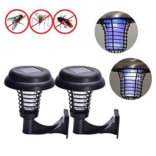 Naiflowers 2PC Solar Powered Mosquito Zapper LED Light Pest Bug Zapper Insect Killer Lamp Ground Backyard Garden Patio Lawn Best Stinger Moth Fly Solar Powered Indoor Outdoor Light