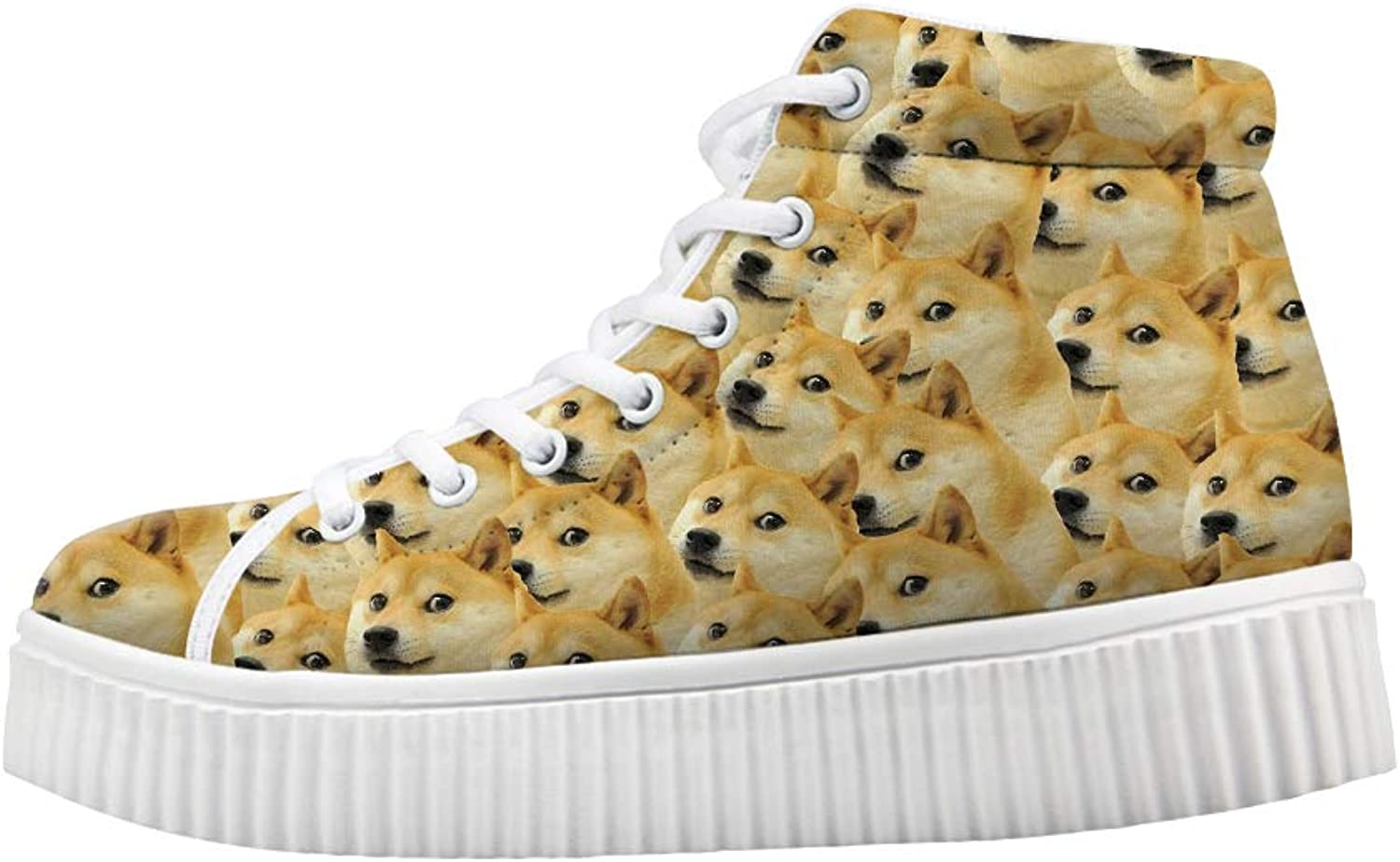 Owaheson Platform Lace up Sneaker Casual Chunky Walking shoes High Top Women Doge Meme Trypophobia
