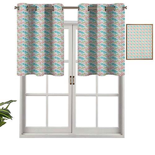 Hiiiman Cenefas de cortina para ventana con diseño de peces ornamentales con ricos rizos de fantasía medieval, juego de 2, cenefas de 137 x 91 cm para ventana de cocina con ojales
