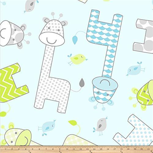 David Textiles Blue Prints Baby Giraffe Fleece Fabric by The Yard