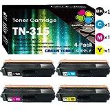 (4-Pack, B+C+M+Y) Compatible TN-315 TN315 Toner Cartridge TN310 Used for Brother HL-4150CDN HL-4570CDW HL-4570CDWT MFC-9460CDN MFC-9560CDW MFC-9970CDW Printer, by GTS