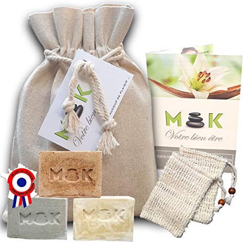M'K - BIO - Saponifié à froid - artisanal - à l'huile d'olive - Coffret femme bien-être : 3 X 100g NATUREL/ARGILE/CURCUMA + 1 pochette lin + 2 Sacs sisal + 1 guide - Cadeau femme anniversaire - fê