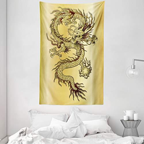 ABAKUHAUS Drachen Wandteppich und Tagesdecke, Chinesischer Ost-Mythos aus Weiches Mikrofaser Stoff Kein Verblassen Klare Farben Waschbar, 140 x 230 cm, Senf Schwarz