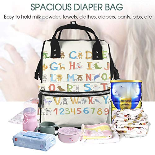 UKFaaa Large Diaper Bag Backpack,ABC Learning Tool for Boys and Babies Large A to Z Waterproof Mummy Dad Backpack Maternity Baby Nappy Changing Bags with Stroller Hooks