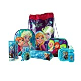 Frozen 8PC Back to School Bundle - inc Backpack, Drawstring Sports Bag, Insulated Lunch Bag, Sandwich Box, Water Bottle, Coin Pouch, Pencil Case & Stationery Set.