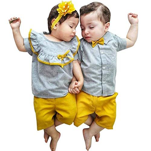 Carolilly Neugeborenes Baby Kleidung Set Rüschen T-Shirt Top Gentleman Outfit Zwillinge Geschenk (6-12 Monate, Bruder)