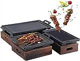 TANKKWEQ Parrilla portátil para barbacoa, japonesa-coreana para el hogar de madera con base de madera para la mesa de comedor interior, camping, barbacoa de jardín al aire libre (tamaño: 35 cm)