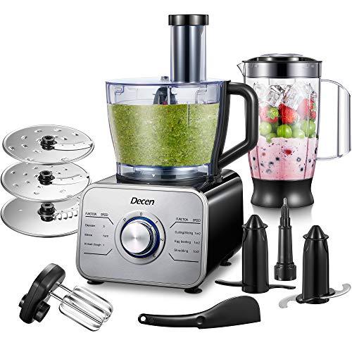Decen Robot Multifonction 1100W Robot Cuisine 11 en 1, 3 Vitesses Réglables et Fonction Pulse, 3,5 L Bol et 1,5 L Blender(avec crochet pétrisseur, mixeur, presse-agrumes et moulin à café) Argent/Noir