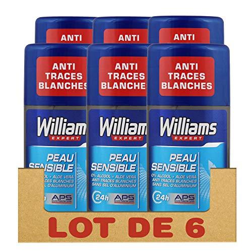Williams Exert Déodorant Homme Stick Protection 24h Anti-Trances Blanches et Anti-Odeurs Formule Testée Dermatologiquement, pour les Peaux Sensibles (Lot de 6x75ml)