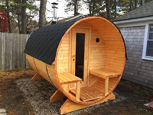 Barrel Sauna Kit BZBCabins.com W29, 4 Person Outdoor Sauna with Harvia M3 Wood Burning Heater