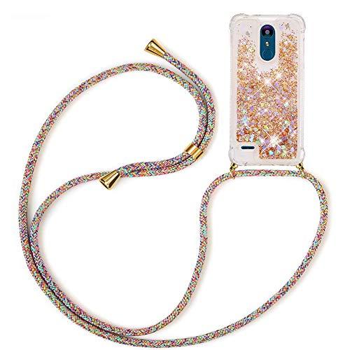 Mkej Flüssig Treibsand Handykette Kompatibel mit LG K8 2018 Glitzer Handyhülle, TPU Silikon Clear Back Cover mit Glitter Flüssigkeit Smartphone Necklace Schutzhülle - Regenbogenfarbe