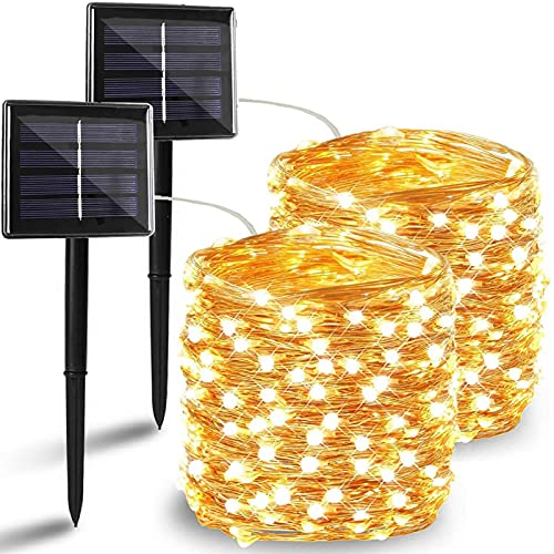 BHCLIGHT 2 Pack Each 72FT 200 LED Solar String Lights, Upgraded Super Durable Solar Lights Outdoor, Waterproof Copper Wire 8 Modes Fairy Lights for Home Decor Patio Garden Party (Warm White)