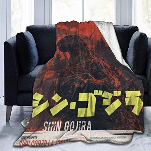 DSFAA Shin Godzilla Poster Manta con Capucha de vellón Sherpa Ultra Suave con Capucha Sudadera con Capucha Manta cálida Cojín de Felpa Coral Poncho de Abrigo Capa para niños Adultos Mujeres Hombres