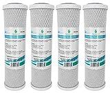 4x AquaHouse AH-CTO5 Cartouches de filtre à eau en bloc de carbone de 10 po pour eau potable, systèmes d'osmose inverse, s'adapte à tous les boîtiers de filtre de 10' 25cm