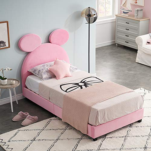 VECELO Twin Bed Upholstered Platform Bed, Kids Bed Wood Frame with Soft Headboard Velvet Fabric Surface Mattress Foundation/Easy Assembly,Pink