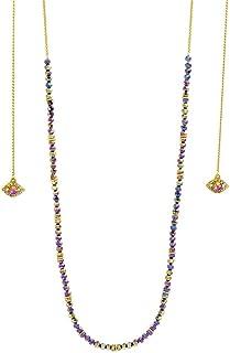 Steve Madden Women Alloy Rhinestone Chain Necklace, 22 Inch - SMN500006GD, Multi Color
