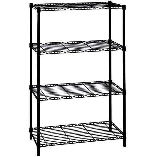 LUMI 4 Tier Black Wire Shelving Unit - Adjustable Shelving Rack for Kitchen, Closet, Bathroom, Laundry, Pantry Organization and Storage Shelving, 22