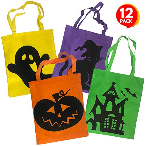 ArtCreativity Halloween Tote Bags, Set of 12, Durable Canvas Trick-or-Treat Bags for Candy, Treats, and Gifts, 4 Eye-Catching Designs, Halloween Party Favor Goodie Bags for Kids, 17 x 15 Inches