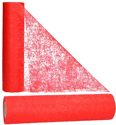 AmaCasa - Camino de Mesa de Tejido sin Tejer Rojo, Ideal para Flores, Bodas y comuniones, 30cm/25m (Rojo, 30cm)