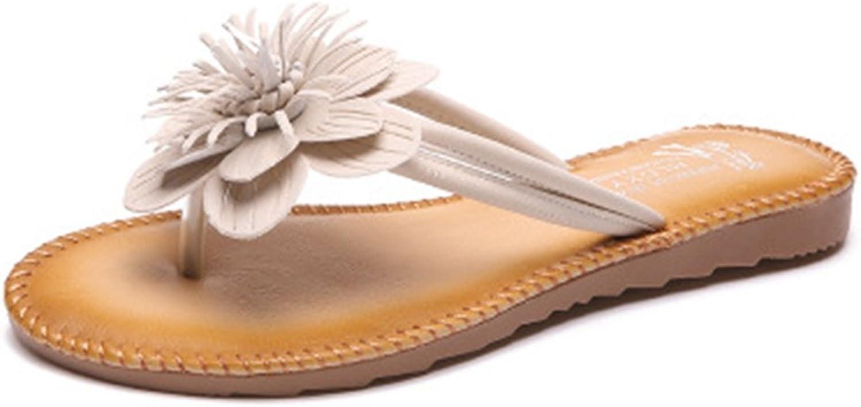 GIY Women's Bohemian Flower Flip Flops Fringe Flat Sandals Fashion Comfort Summer Beach Thong Slipper