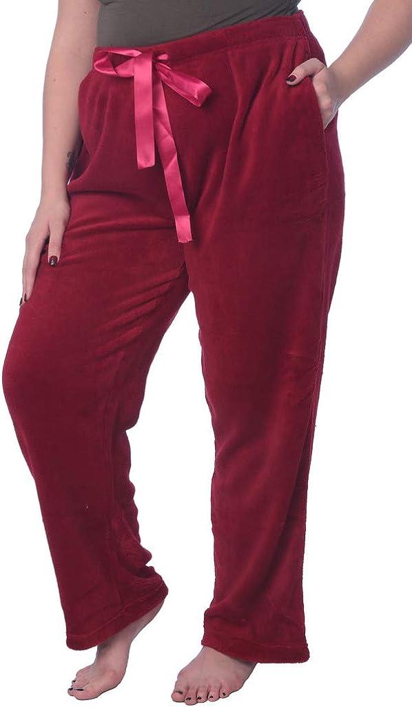 Women's Soft Plush Lounge Pants Coral Fleece Plus Size Long Pajama Pants