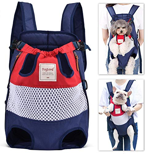 Mochila para Perros Delantera Transpirable Portatil Dog Backapck Ajustables Bolso Frontal Perro Gato Pequeños Medianos hasta 12 kg para Caminar Senderismo Viajar