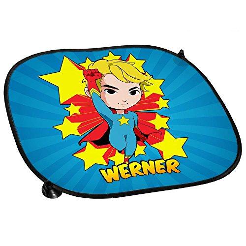 Auto-Sonnenschutz mit Namen Werner und Motiv mit Superheld für Jungen | Auto-Blendschutz | Sonnenblende | Sichtschutz