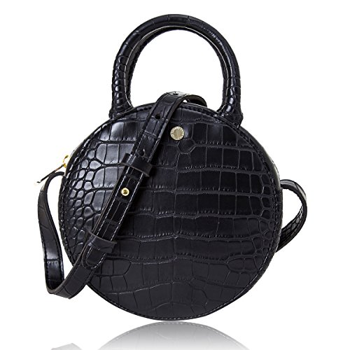 The Lovely Tote Co. Women's Fashion Crocodile Circle Crossbody Bag (Mini, Black)