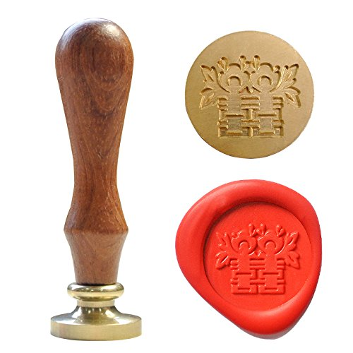 UNIQOOO Arts & Crafts Curlicue Chinese Character Double Happiness Wax Seal Stamp, Embellishment of Envelope, Post Card, Snail Mail, Invitations, Wine Packages, Gift Decoration