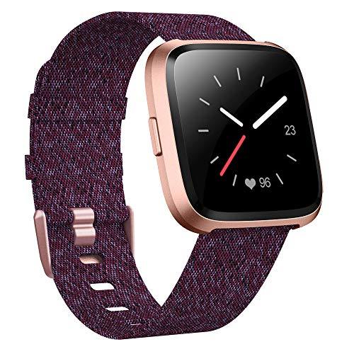 XIMU Kompatibel mit Fitbit Versa Armband/Versa Lite Armband Stilvolle, Gewebte Armbänder mit Edelstahlschnalle Passend für Damen Herren für Versa/Versa Lite (Rose Schwarz, S)