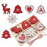 Juego de adornos navideños Kit de adornos para árboles de navidad de madera, 24 piezas 2'' Adornos colgantes de navidad de madera Decoración para árbol de Navidad con caja de almacenamiento de madera