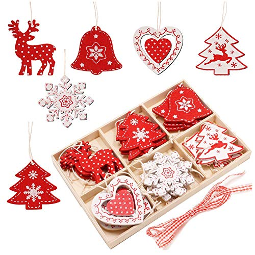 SEEHAN Ensemble d'ornements d'arbre de Noël en Bois, 24 Pcs 2.0 '' Décoration d'ornement de Noël en Bois pour Arbre de Noël Artisanat Bricolage avec boîte de Rangement en Bois