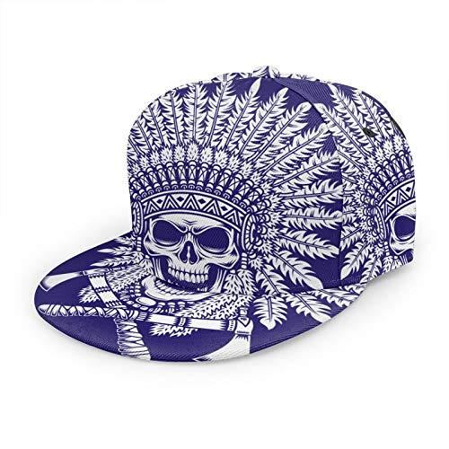 American Indian Chief Skull Crossed Tomahawks Unisex 3D Printing Classic Baseball Cap Snapback Flat Bill Hip Hop Hats Navy
