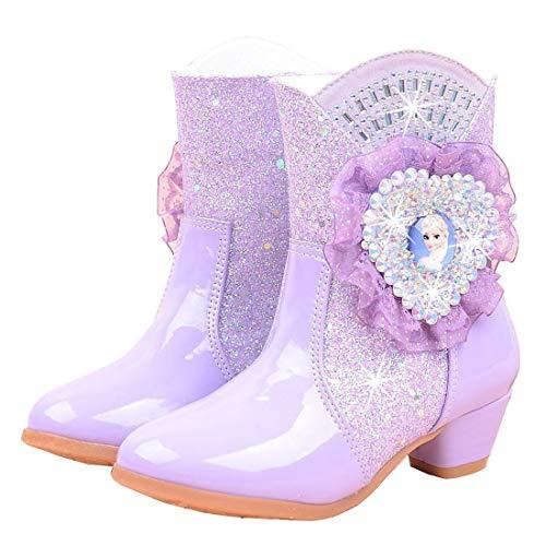 YOSICIL Mädchen Eiskönigin ELSA Stiefel Prinzessin Stiefel Warm Gefütterte Schneestiefel Winter Thermo Gummistiefel Kinder Basic Schlupfstiefel Schadstofffrei Regenstiefel Winterstiefel Pink Lila