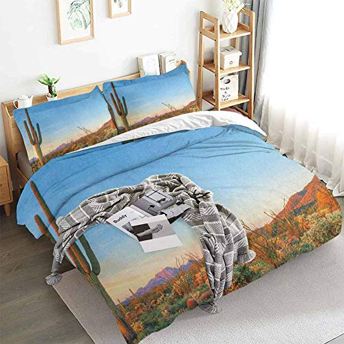 Aishare Store Saguaro Duvet Cover Set,Sun Goes Down in Desert Prickly Pear Cactus Southwest Texas National Park,Decorative 3 Piece Bedding Set with 2 Pillow Shams,Full(80'x90') Orange Blue Green