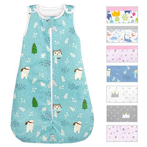 Viedouce Saco de Dormir para Bebé,Saco de Dormir de Algodón Bio para Bebés,Súper Suave,Longitud 80cm para Niño Niña(1 Tog,3-18 Meses)