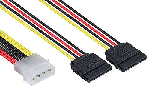 Poppstar 1x 10 cm Sata 3 Strom-Adapter Y-Kabel (Stromkabel Splitter - 1x 4-pin Molex Stecker auf 2X 15-pin Sata Buchse)