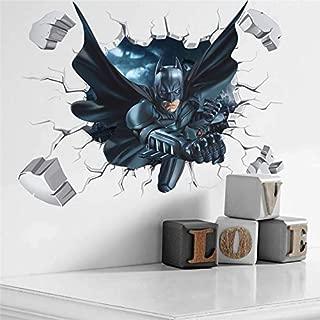SeedWorld Wall Stickers - Cartoon Boy's Hero Batman Spiderman Wall Sticker for Kids Rooms Home Decor Wall Art 3D Effect Broken Wall Decal Gift Poster 1 PCs