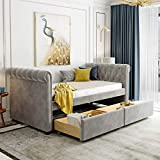 P PURLOVE Twin Size Upholstered daybed with Two Drawers, Wood Slat Support, Gray