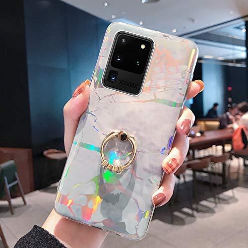 NSSTAR Compatible avec Samsung Galaxy S20 Ultra Coque avec avec Anneau Support Paillette Brillante Strass Marbre Motif Coque Silicone Antichoc Housse Étui TPU Ultra Mince Souple Bumper Housse,Gris