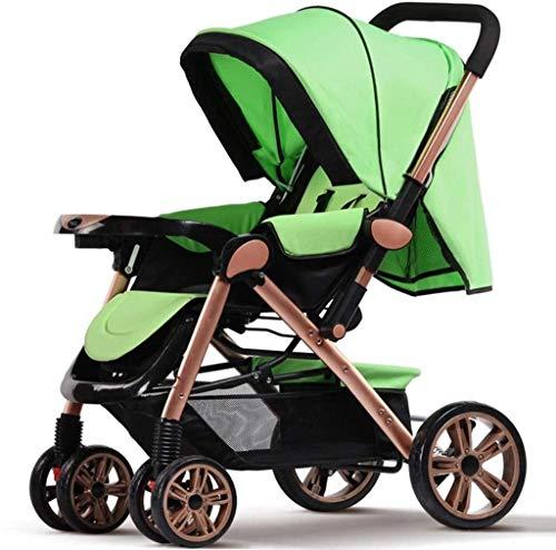 Cochecito de bebé for el recién nacido, el cochecito de bebé ultraportátil puede sentarse y acostarse doblez cuatro rondas de alta paisaje carro de bebé ajustable Cochecito cochecito ( Color : Green )