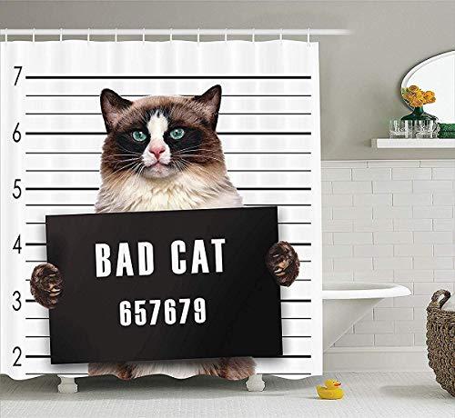 Kat Lover Decor Douche Gordijn Set, Bad Bende Kat in de gevangenis Kitty Onder Arrest Criminele Gevangene Hangover Artsy Work, Badkamer Accessoires, 72W x 79L Inch Bad Gordijnen Extra, Bruin Zwart Wit