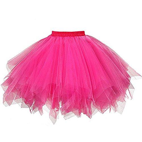 Zottom Mode Tutu Damenrock Tüllrock 70er Kurz Ballet Tanzkleid Unterkleid Cosplay Crinoline Petticoat für Rockabilly Kleid(Pink,One Size)