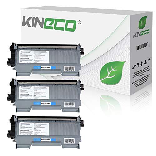 Kineco 3 Toner kompatibel für TN-2010 TN-2220 für Brother MFC-7360N DCP-7055 Brother HL-2135W HL-2130 HL-2132 DCP-7057 - TN2010 TN2220 - Schwarz je 3.000 Seiten