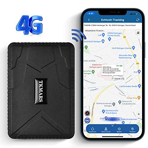 KUCE GPS Tracker per Auto 4G,Antifurto Auto per 6 Potenti Magneti Integrati,Localizzatore GPS per Auto Moto Bicicletta,Posizionamento Dual Mode GSM/GPS,Antifurto Anti-perso Impermeabile
